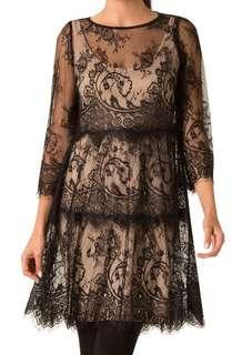 "BRAND NEW Leona Edmiston Black Lace Mini ""Sandy"" Dress Size 10 TAGS ON"