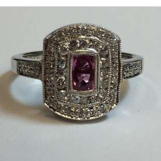 Ladies Natural Pink Sapphire and Diamond 14K White Gold Antique style Ring