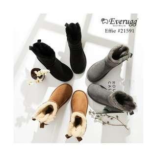 Everugg*Effie,Fashion Mini Ladies Bailey Bow sheepskin UGG Boots