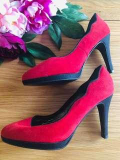 Red Leather Heels Size 6(37)