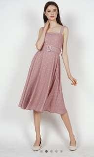 MDS BN Flared Midi Dress in Mauve Polka Dots size M