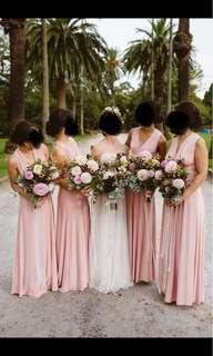 Lulu's multi-way formal dress blush