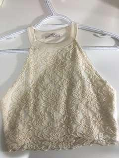 White crop lace halter top