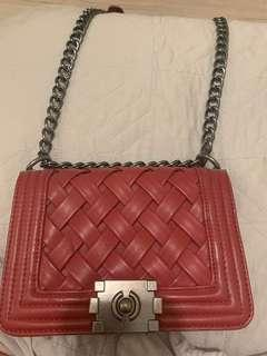 Red chain bag