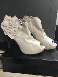 Forever New Cream Peeptoe Ankle Heels