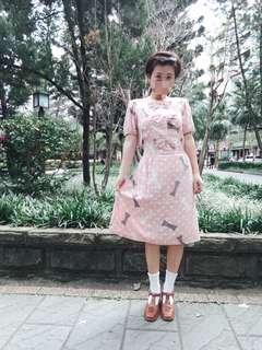 🚚 保留中勿下標 古著 古董波點粉紅少女洋裝 復古軟妹