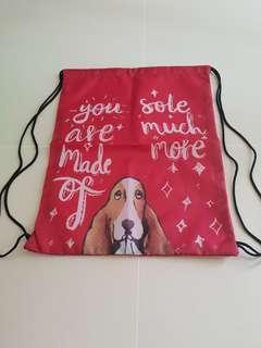Brand New Hush Puppy Red Drawstring Bag
