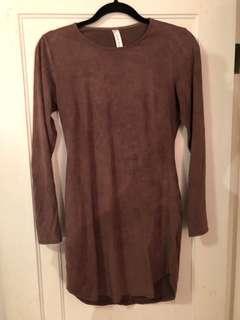 Mauve suede long sleeve mini dress