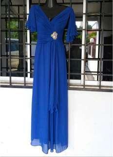 Royal blue swarovski crystal cocktail dress
