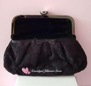 🚚 Authentic Brand New Jill Stuart Black Swarouski Crystal lacey ribbon Clutch/ Make up Comestics Pouch