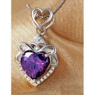 💎海洋之心 天然紫水晶 S925銀項鏈鍊 吊墜 心形項墜 短款鎖骨鏈 飾品 💵:380元                   🚙:60