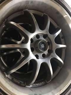 17 x 7.5 JJ Advan Racing RS-D PCD 100x4, 114.2x4 with Dunlop SP Sport FM90 tires (215/45R17 87W)