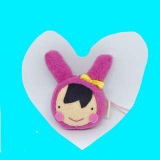 🌸💕台灣購買精品:粉紅色白兔🐰帽小女孩吊飾💕🌹