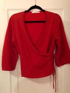 M boutique Red wrap top