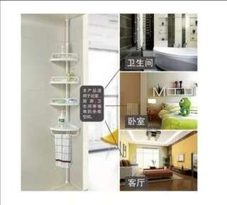 Triangular retractable nail-free home perforated bathroom four-storey bathroom shelves kitchen shelving bath bottle cup