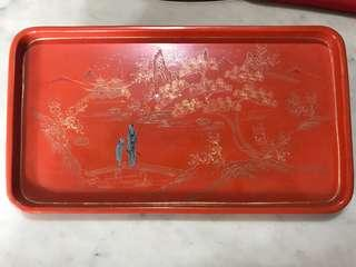 1920s Peranakan Lacquer Wooden Tea Tray with Handpainted Golden Motifs