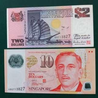 S'pore Polymer $10 & Ship $2 Identical No: 713827 ( Unc )
