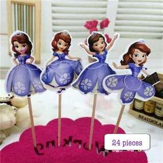 🚚 New 24pcs Princess sofia cake topper decoration sofie disney cake flag