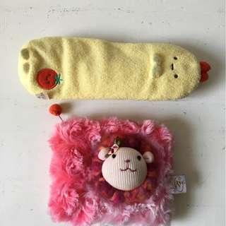 Pink plush pouch and soft pencil case