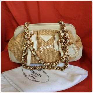 🛑Prada Raffia Chain Shoulder Bag