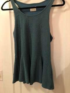 Teal Urban Outfitters Peplum Top