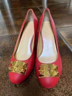 Hermes buckle red shoes *mirror* size 37