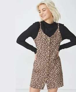 Brand New Linen Blend Leopard Print Button Dress