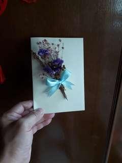 Dried flower bouquet card
