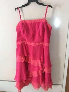 Pink cocktail chiffon dress (size 18)