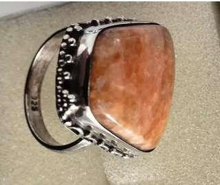 Apricot calcite ring