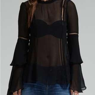 Nicholas the Label Black Long Sleeve Georgette Layer Sleeve Top - 14