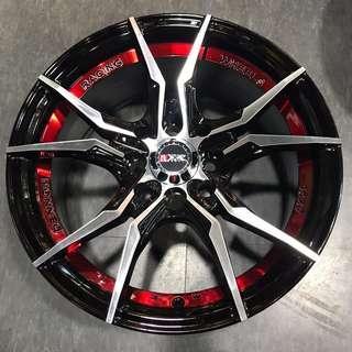 "15"" Dennon Racing Red chrome rims"