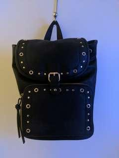 Black Backpack - Leather Gold Accessories