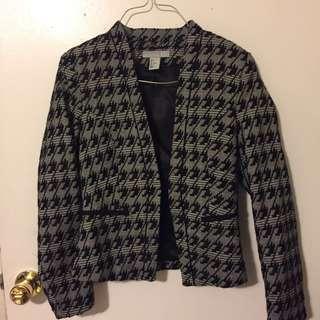 H&M Houndstooth print collarless blazer