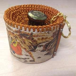 Handcrafted coin pouch keychain