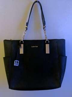 Calvin Klein Black Leather Bag- Gold Accessories
