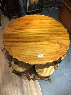 Freeform Table Made of Solid Wood w/ 4 Chairs