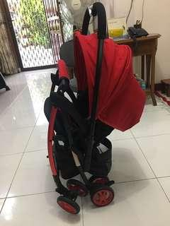 Preloved stroller baby elle neon handle bs hadap depan