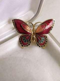 Vintage Cloisonné butterfly brooch