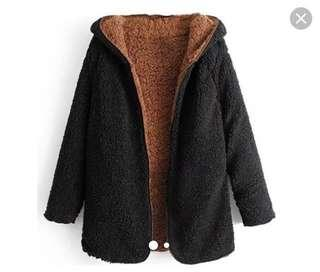 Teddy bear jacket black and brown Urban Outfitters M/L