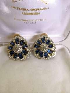 Vintage clip on earrings with blue stones