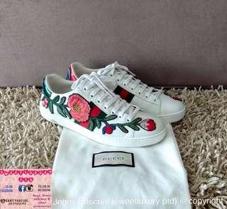 99% NEW GUCCI ACE SNEAKERS FLORAL Size38 can fit to size7.5/8US