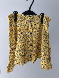 H&M Yellow Floral Mini Skirt #mfeb20