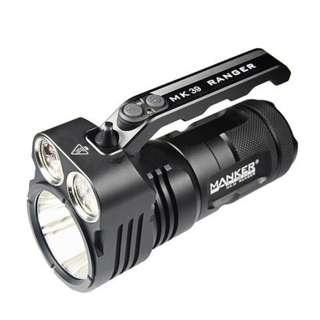 (FREE Delivery_6,000 Lumens_1.1KM Beam Distance) Manker MK39 Ranger Flashlight/Searchlight with Flood & Throw Beams
