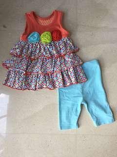 Bonnie jean 6-9mos baby girl dress and legging