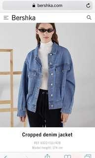 CARI Bershka cropped denim jacket jaket jeans
