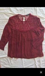 Baju Bershka blouse merah maroon