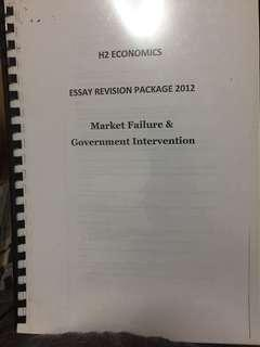 JC H2 Economics Essay Revision Package - Market Failure and Government Intervention
