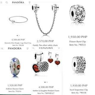 Original Preloved Pandora bracelet safety chain charms murano pendant