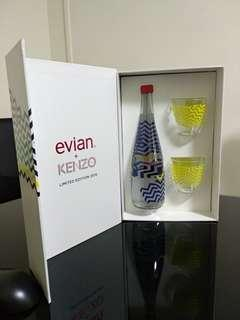 Evian + Kenzo Limited Edition 2015 with 2 piece glass tumbler set